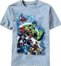 New Marvel Second War Carolina Blue T-shirt w/ Captain America, Wolverine, Hulk