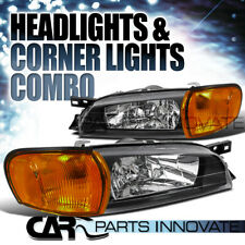 For 95-01 Subaru Impreza Black Headlights+Amber Lens Corner Turn Signal Lamps