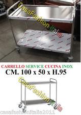 CARRELLO INOX 100x50xH.95 SERVICE ACCIAIO CUCINA SALA RISTORANTE ALBERGO AH31052