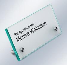 Namensschild Tischaufsteller Hinweisschild Floatglas Edelstahl  Empfangsschild