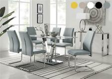 Florini V Grey Chrome Glass Dining Table Set with 6 Modern Chairs