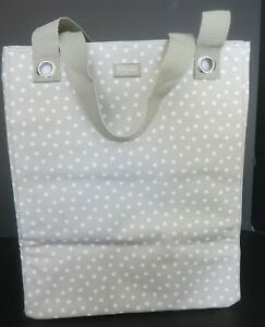 THIRTY ONE MULTI PURPOSE TOTE BAG TAUPE W/ WHITE POLKA DOTS