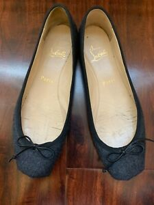 SPRING SALE! Christian Louboutin Women's Rosella Grey Wool Ballet Flat (7.5)