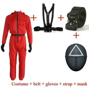 Cosplay Costumes Squid Game Villain Red Jumpsuit Round Accessories Halloween