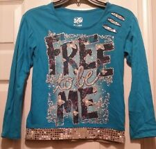 """JUSTICE """"FREE TO BE ME"""" SHIMMER LONG SLEEVE SHIRT TOP GIRLS SIZE 10"""