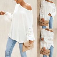 Women Solid Blouse Shirts Top Long Sleeve Loose Hollow One Shoulder White S-3XL