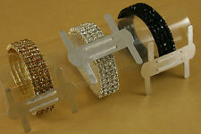 1 FAUX RHINESTONE Wrist Band Corsage Flower Holder Weddings, Prom - Choose color