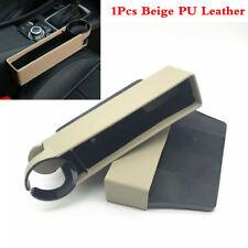 Beige PU Leather Car Seat Catcher Organizer Storage Box Side Pocket W/Cup Holder