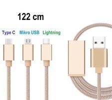 3in1 Ladekabel Nylon Lightning+ Micro+Typ C USB Datenkabel iPhone Samsung HTC LG