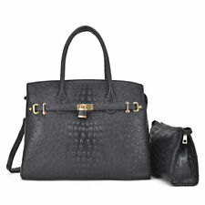 Women Handbag Ostrich Faux Leather Shoulder Purse with Matching Organizer Bag