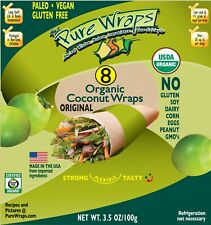 Organic Pure Wraps (Keto, Vegan, Gluten-Free) Coconut Wraps Original 8 count