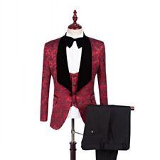 Men Wine Red Jacket Black Pant Jacquard Paisley Tuxedos Wedding Suit Custom Made