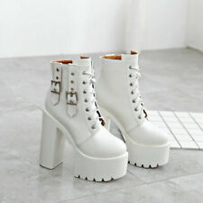 Punk High Top Ankle Boots Womens Platform High Block Heels Lace Up Bucke Shoes