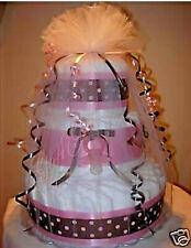 L@K.Precious Diaper Cake Girl Baby Shower Centerpiece