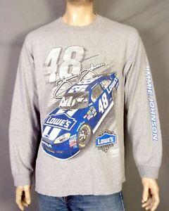 vtg 90s 00s Y2K Jimmie Johnson NASCAR T-Shirt Lowe's Team Racing Long Sleeve XL