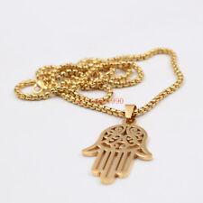 Gold Stainless Steel Punk Hamsa Hand Judaica Pendant Necklace Fashion Chain 24''