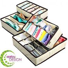 4 Pcs Beige Collapsible Under Garments Closet Organizer Assorted Sizes Flexible