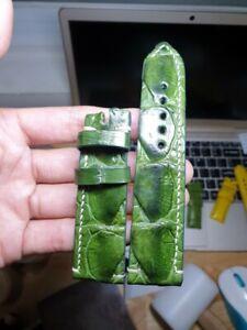 24/22 green-Genuine-corocodile LEATHER-SKIN-WATCH-STRAP-BAND