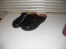 Finn Comfort ~ Black Orb Croc Slip On Slippers Mules ~ 39