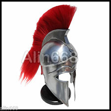 Medieval Greek Corinthian Helmet with Red Plume Role-Play Drama Movie Prop Armor