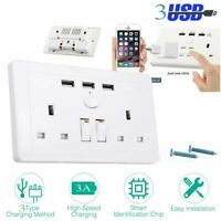 Double Wall 2 Gang Socket with 3 USB fast Charger Ports Plug Switch Plate UK