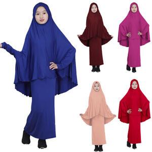 Abaya Muslim Kids Girls Jilbab Long Hijab Maxi Dress Islamic Prayer Clothing Set