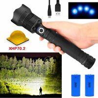 50000lm Super Bright LED Flashlight XLamp Xhp70.2 Usb Zoom Torch Tactical Light