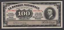 Banque National Quebec 100 dollars 1922 specimen