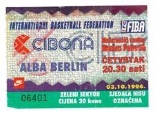 Collector tickets : Basketball FIBA CIBONA Zagreb - Alba Berlin Germany 96