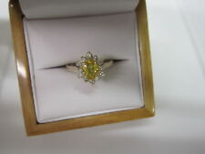 GORGEOUS ESTATE 14 KT GOLD ,98 CTW. VIVID YELLOW SAPPHIRE AND DIAMOND RING !!!