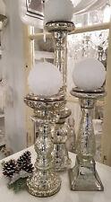 Kerzenleuchter Bauernsilber Glas Silber Weihnachten Shabby Vintage Nostalgie 3