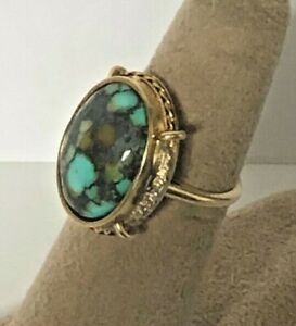 14k YELLOW GOLD  VINTAGE 60's TURQUOISE HANDMADE NATURAL STONE