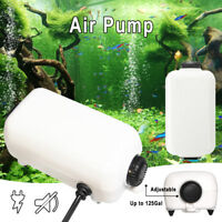 US SHIP Aquarium Adjustable Air Pump Two Outlets Fish Tank 65GPH Up to 125Gal