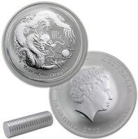 2 x 2012 Lunar Year of The Dragon 1oz Silver Coin - Australia Perth Mint