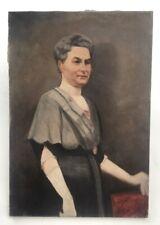 Tableau ancien, Huile sur toile, Portrait de femme, Début XXe