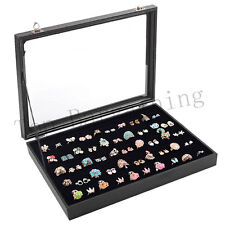 New 100 Glass Lid Jewellery Ring Storage Box Display Tray Case Organiser Holder