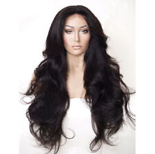 "24"" Long Wavy Lace Front Wig Natural Black Heat Resistant Synthetic Hair"