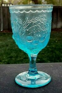 """L.G. Wright Blue Cherry 6¼"""" Water Goblet"""