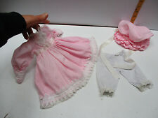 """VICTORIAN STYLE COTTON PINK DOLL DRESS For Vintage Antique ChinA 16"""" /18"""" doll"""