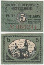 Germany 5 Pfennig 1919 Notgeld Plauen UNC Small Banknote