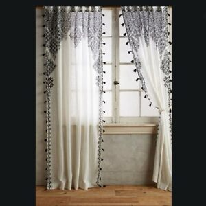 Cotton Embroidered White Curtains Drapes Valances For Sale Ebay