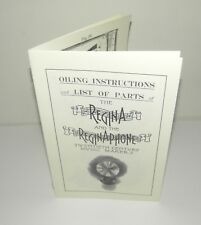 Regina & Reginaphone Music Box Oiling Instructions & Parts List Reproduction