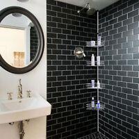 4 Tier Metal Shower Corner Pole Caddy Bathroom Wall Shelf Storage Rack Holder US