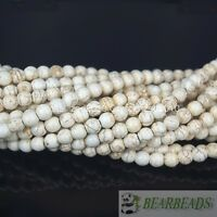 White Howlite Turquoise Gemstone Round Beads 2mm 3mm 4mm 6mm 8mm 10mm 12mm 15""