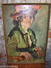Red Hat Painting Primitive Carl Alex-von Volborth Pop Culture 60s Woman Maggie
