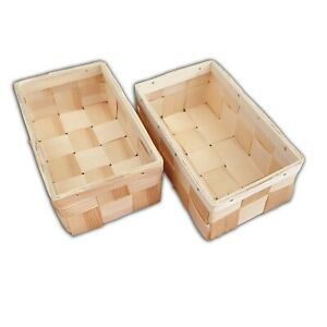 Wooden Basket, Set of 2, Woven Pine B15 With Lid Handmade