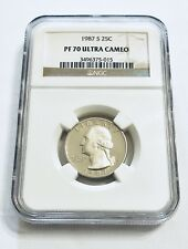 1987 S 25C Quarter NGC PF70 ULTRA CAMEO Brown Label 25 Cents - Ships Fast