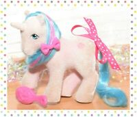 ❤️My Little Pony MLP G1 Vtg 1985 So Soft Buttons Fuzzy Flocked Unicorn SS❤️