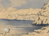 SORRENTO COASTLINE AMALFI COAST ITALY Victorian Watercolour Painting 1868