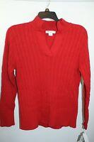 Size 1X  18/20 Liz Claiborne Women's Red Sweater w Collar 100% Cotton NWT! $54